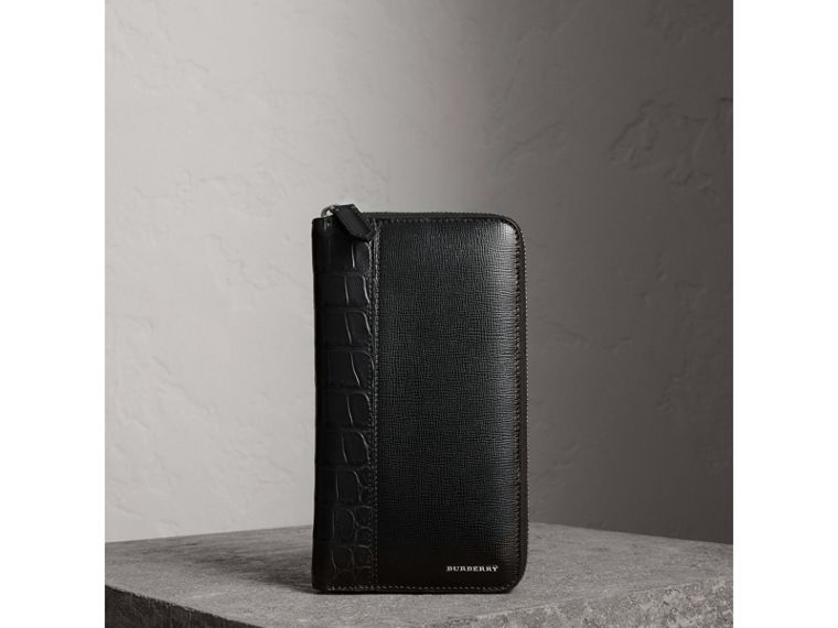 London Leather and Alligator Ziparound Wallet in Black - Men | Burberry United Kingdom - cell image 4