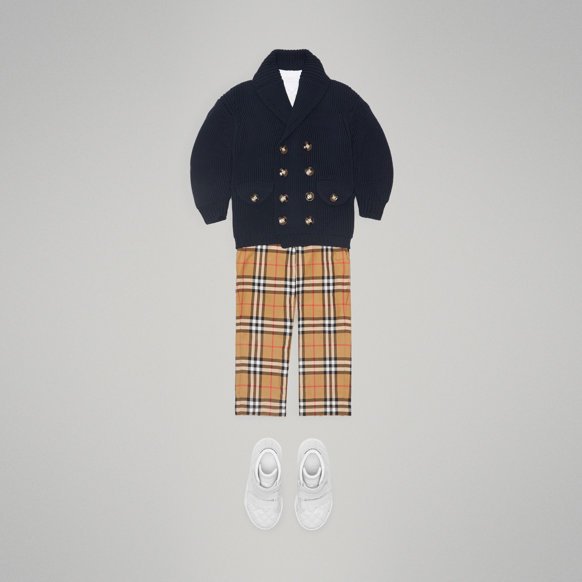 Cotton Knit Pea Coat Cardigan in Navy - Boy | Burberry - gallery image 2