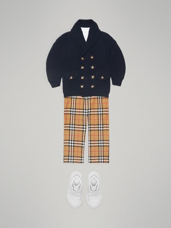 Cotton Knit Pea Coat Cardigan in Navy - Boy | Burberry - cell image 2