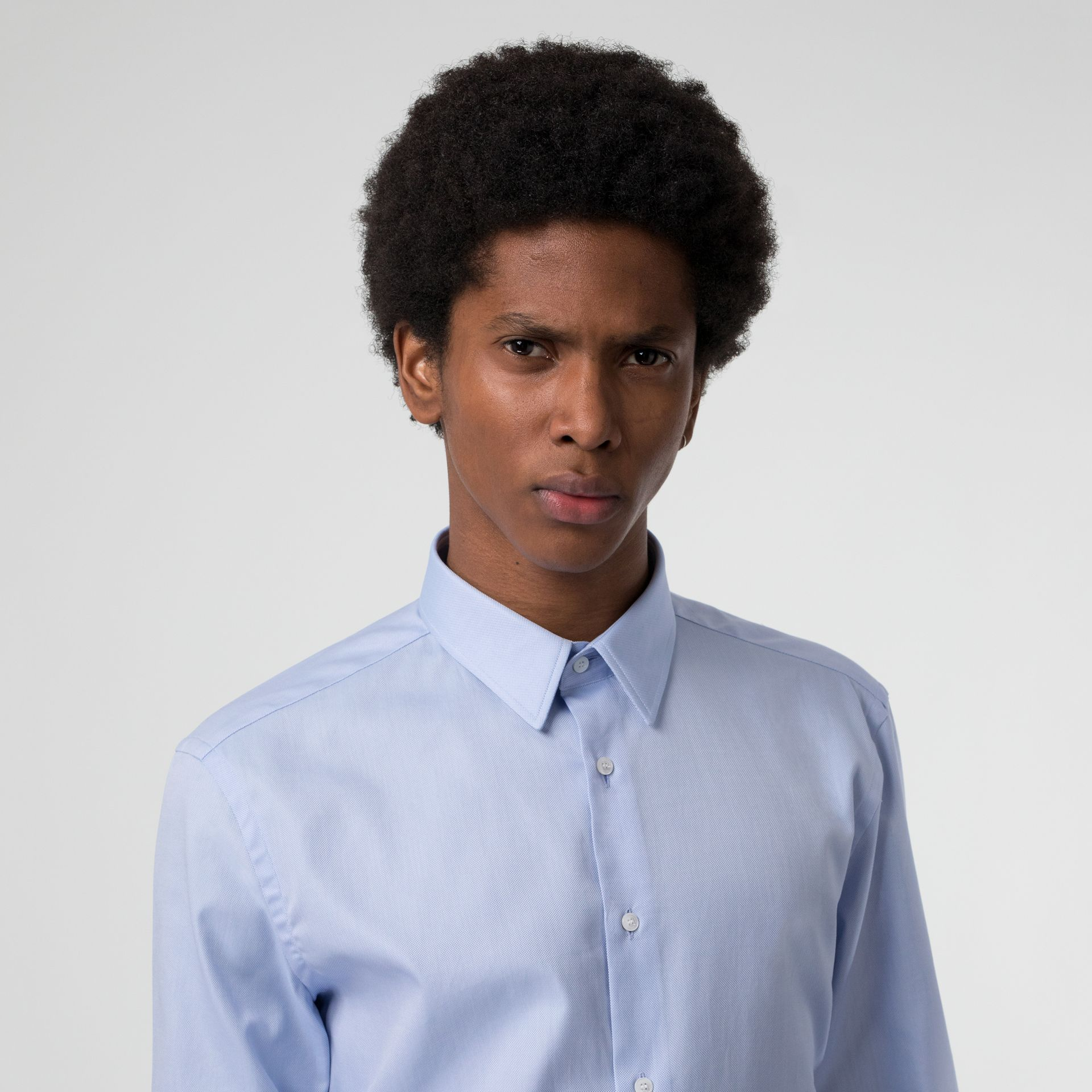 Modern Fit Cotton Shirt in Mid Blue - Men | Burberry - gallery image 1