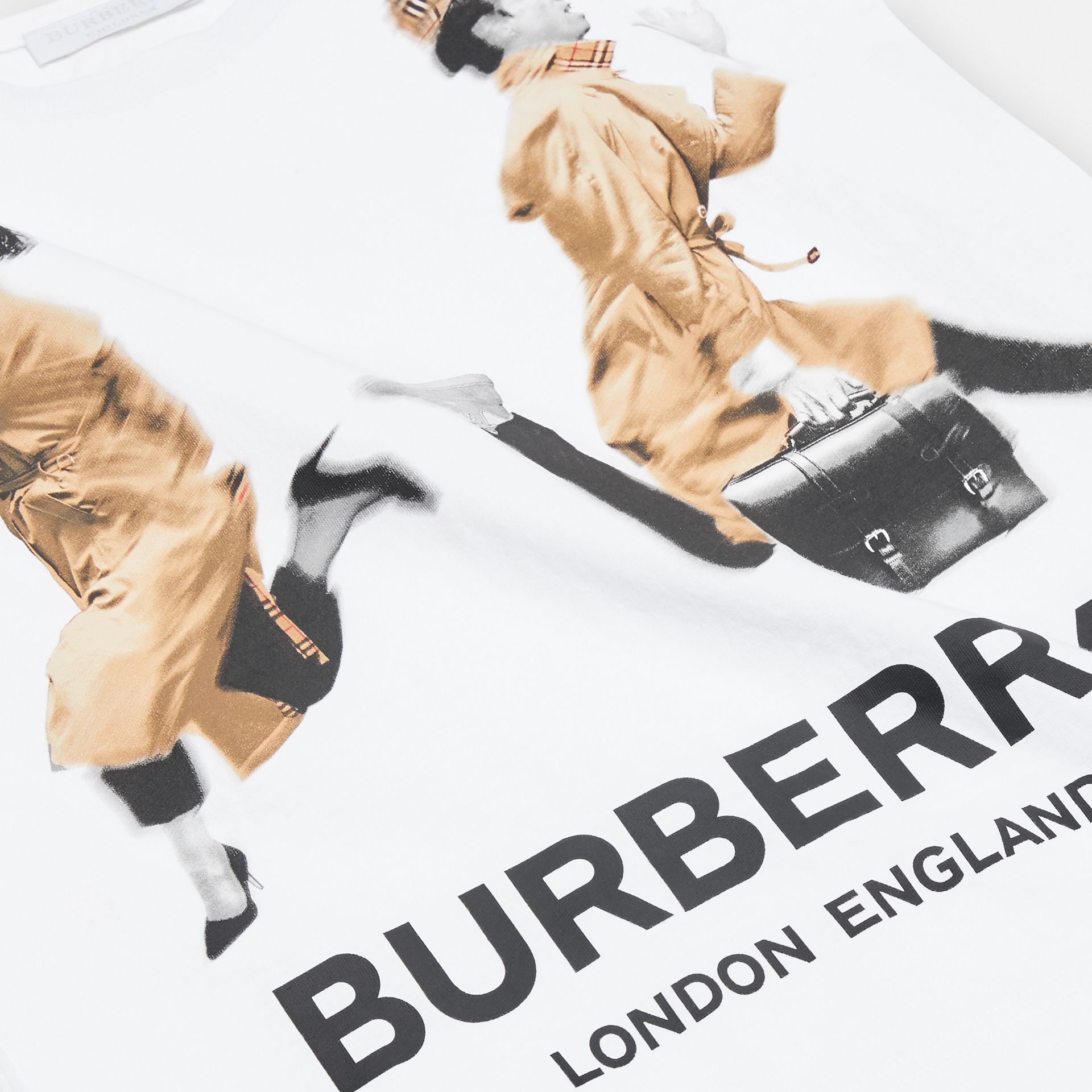 Jump Print Cotton T-shirt in White - Girl | Burberry - gallery image 1