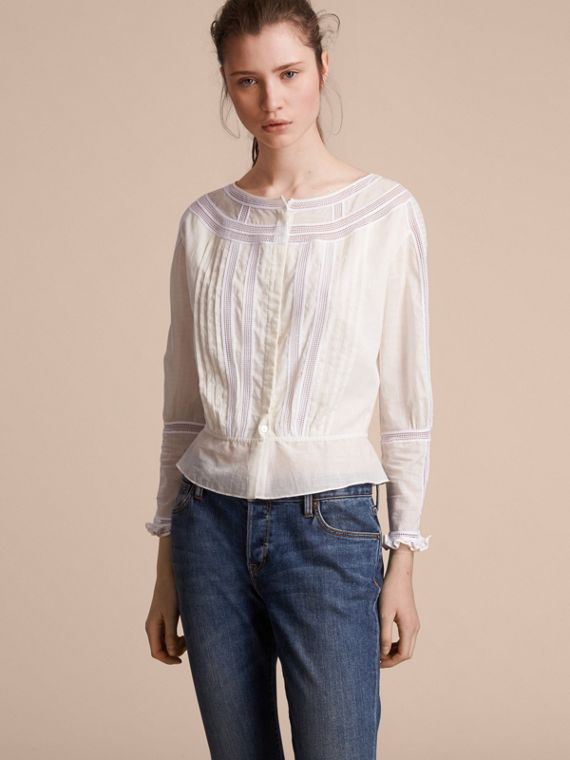 Lace and Pleat Detail Cotton Voile Top - Women | Burberry Canada
