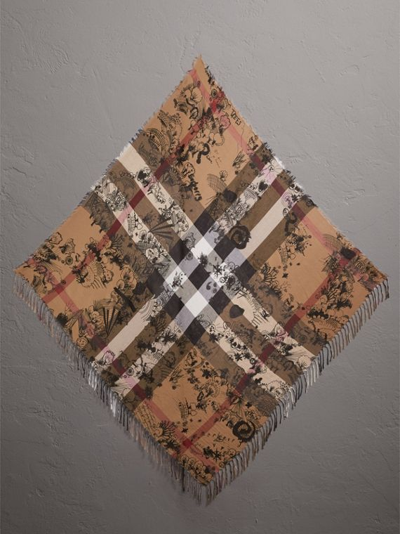 Doodle Print and Check Silk Cotton Scarf in Camel Check/black