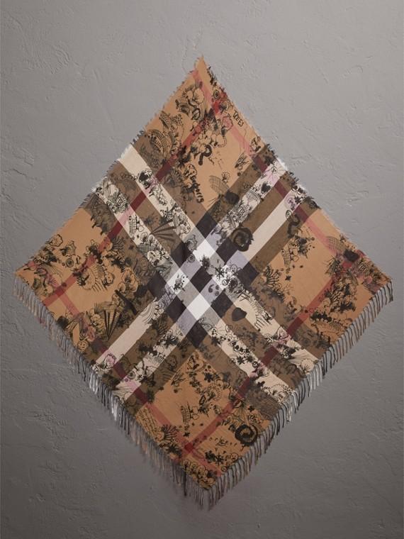 塗鴉印花及格紋絲綢棉質圍巾 (駝色格紋/黑色)