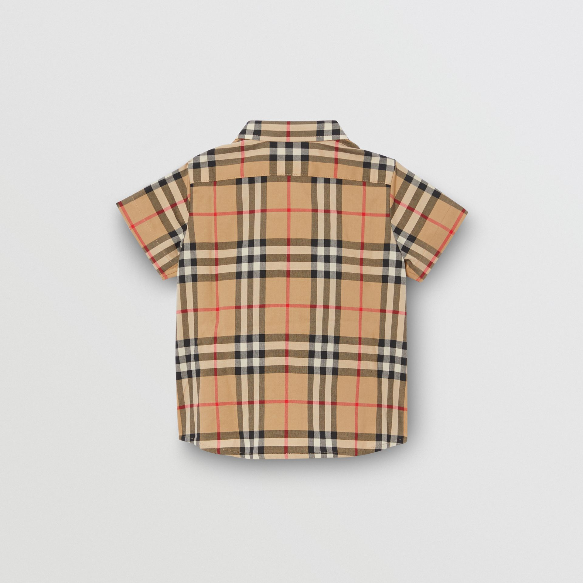 Short-sleeve Vintage Check Cotton Shirt in Archive Beige - Children | Burberry Australia - gallery image 3