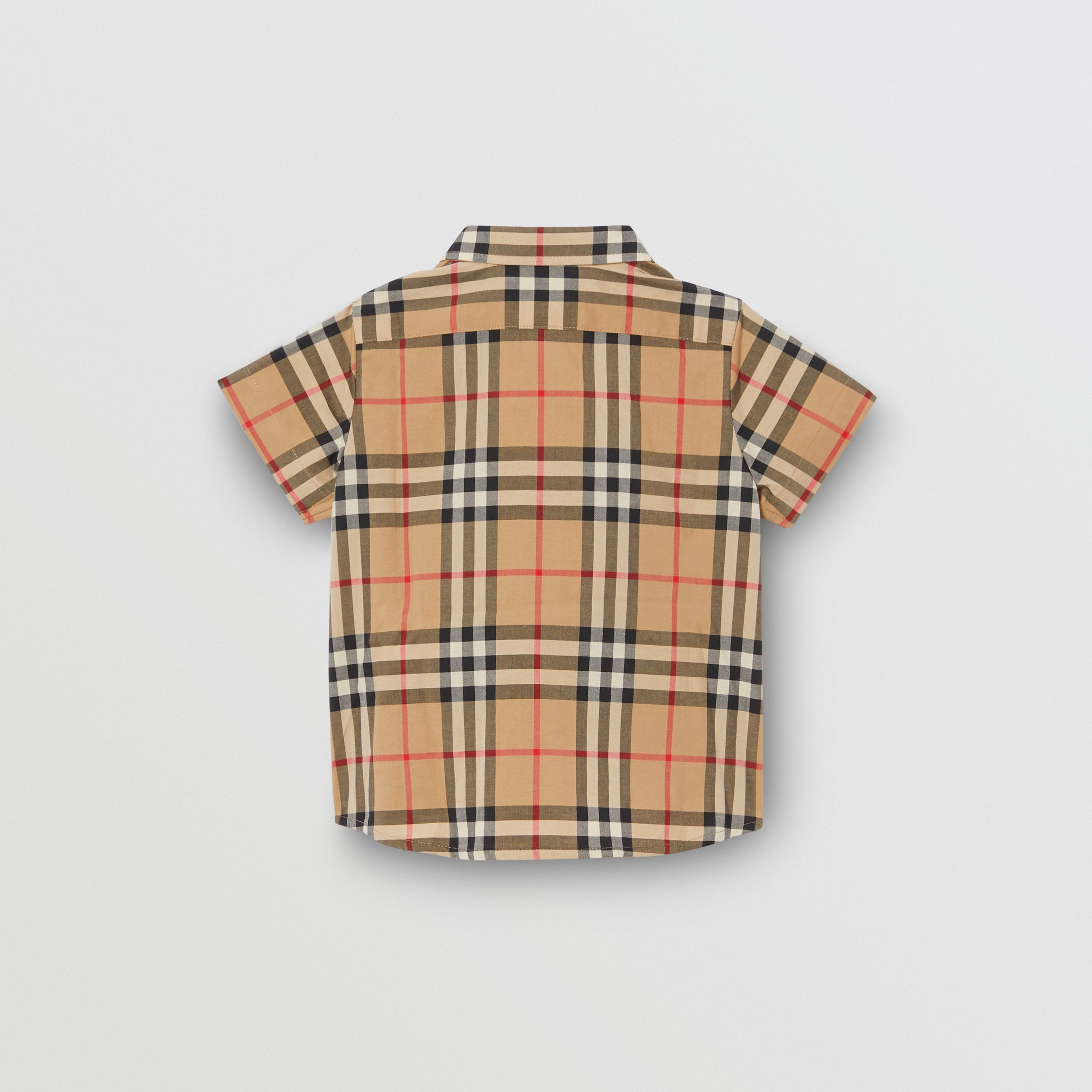 Short-sleeve Vintage Check Cotton Shirt in Archive Beige - Children | Burberry - 4