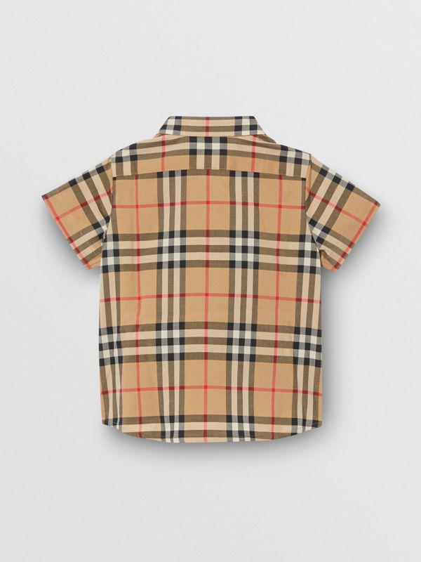 Short-sleeve Vintage Check Cotton Shirt in Archive Beige - Children | Burberry Australia - cell image 3