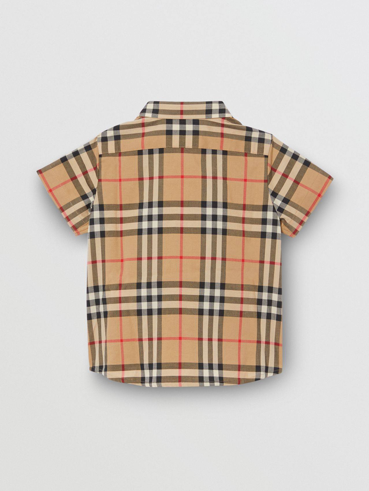 Short-sleeve Vintage Check Cotton Shirt in Archive Beige