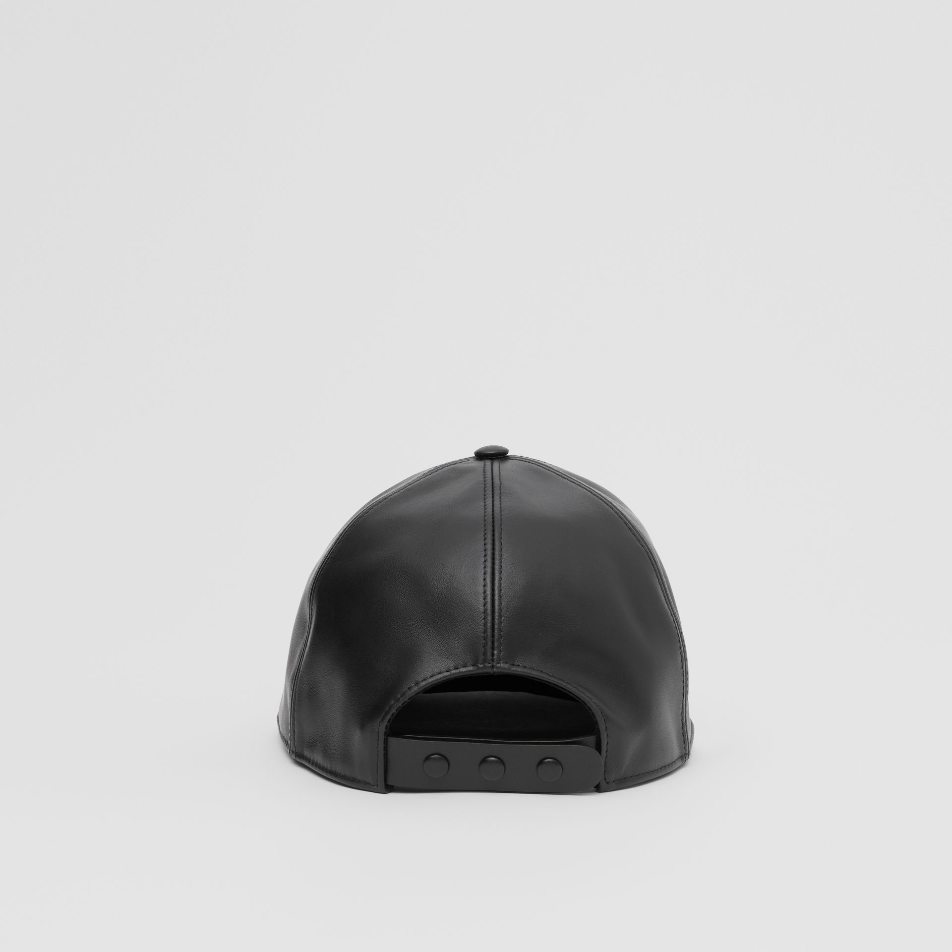 Bottle Cap Detail Leather Baseball Cap in Black | Burberry United Kingdom - gallery image 5