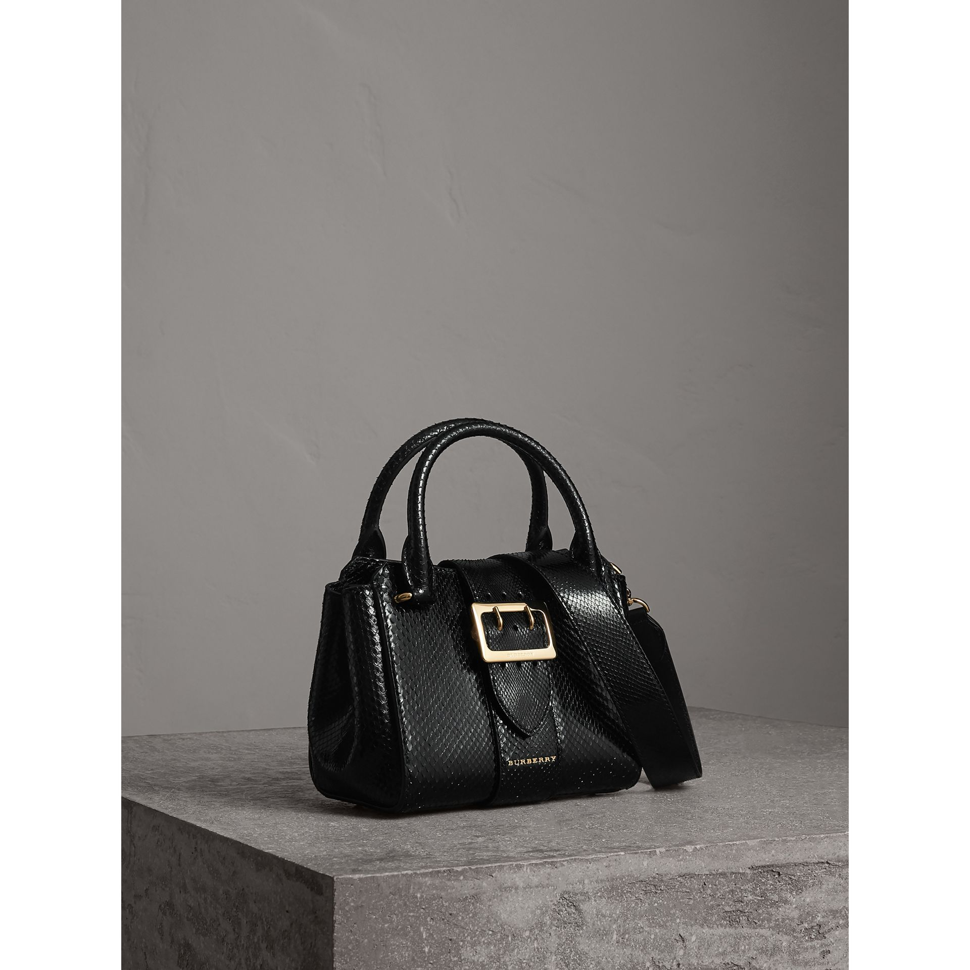 The Small Buckle Tote in Python in Black - Women | Burberry - gallery image 7