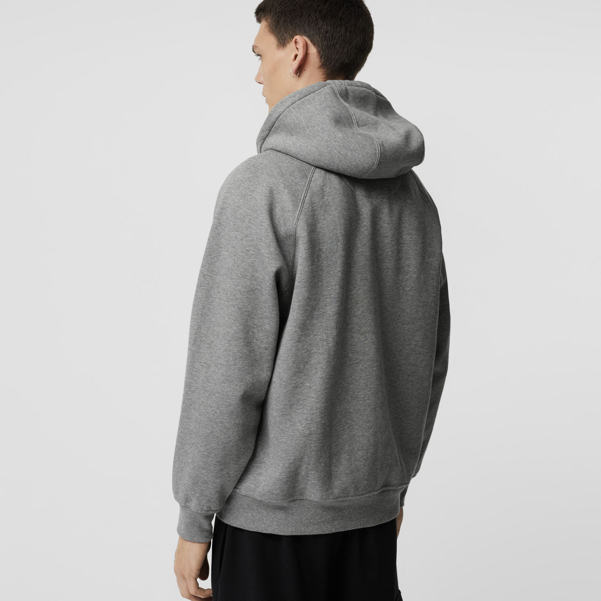 Embroidered Logo Jersey Hoodie in Pale Grey Melange - Men | Burberry Australia - gallery image 2