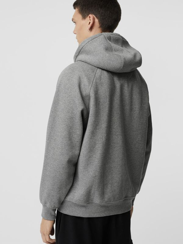 Embroidered Logo Jersey Hoodie in Pale Grey Melange - Men | Burberry United Kingdom - cell image 2