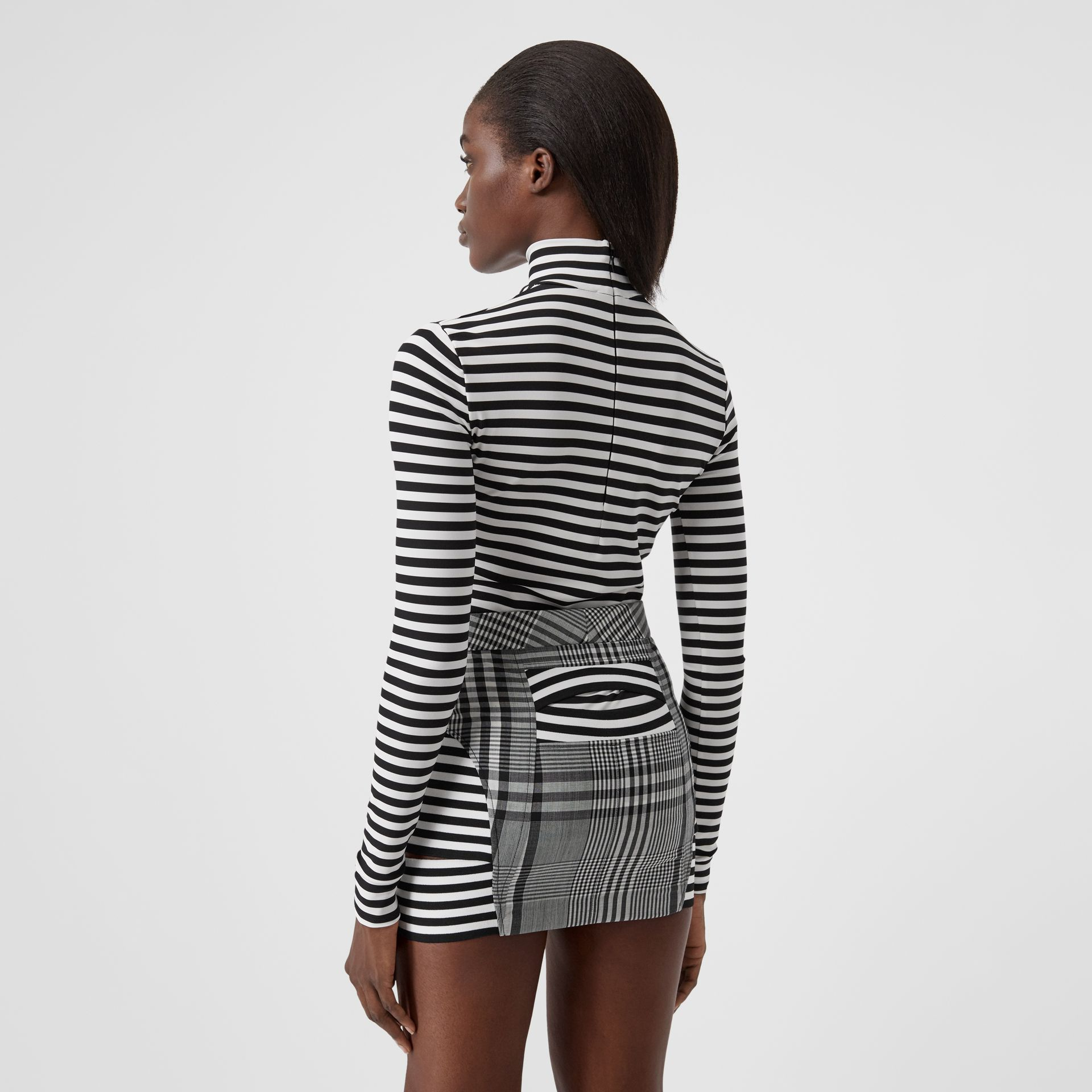 Striped Stretch Jersey Turtleneck Top in Black/white - Women | Burberry - gallery image 2