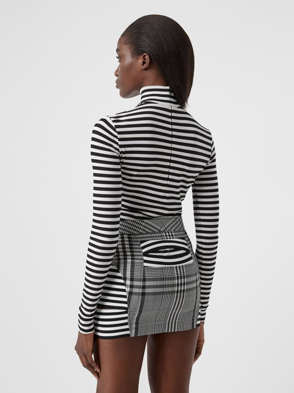Striped Stretch Jersey Turtleneck Top in Black/white - Women | Burberry - cell image 2