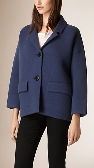Cropped Knitted Wool Cashmere Coat
