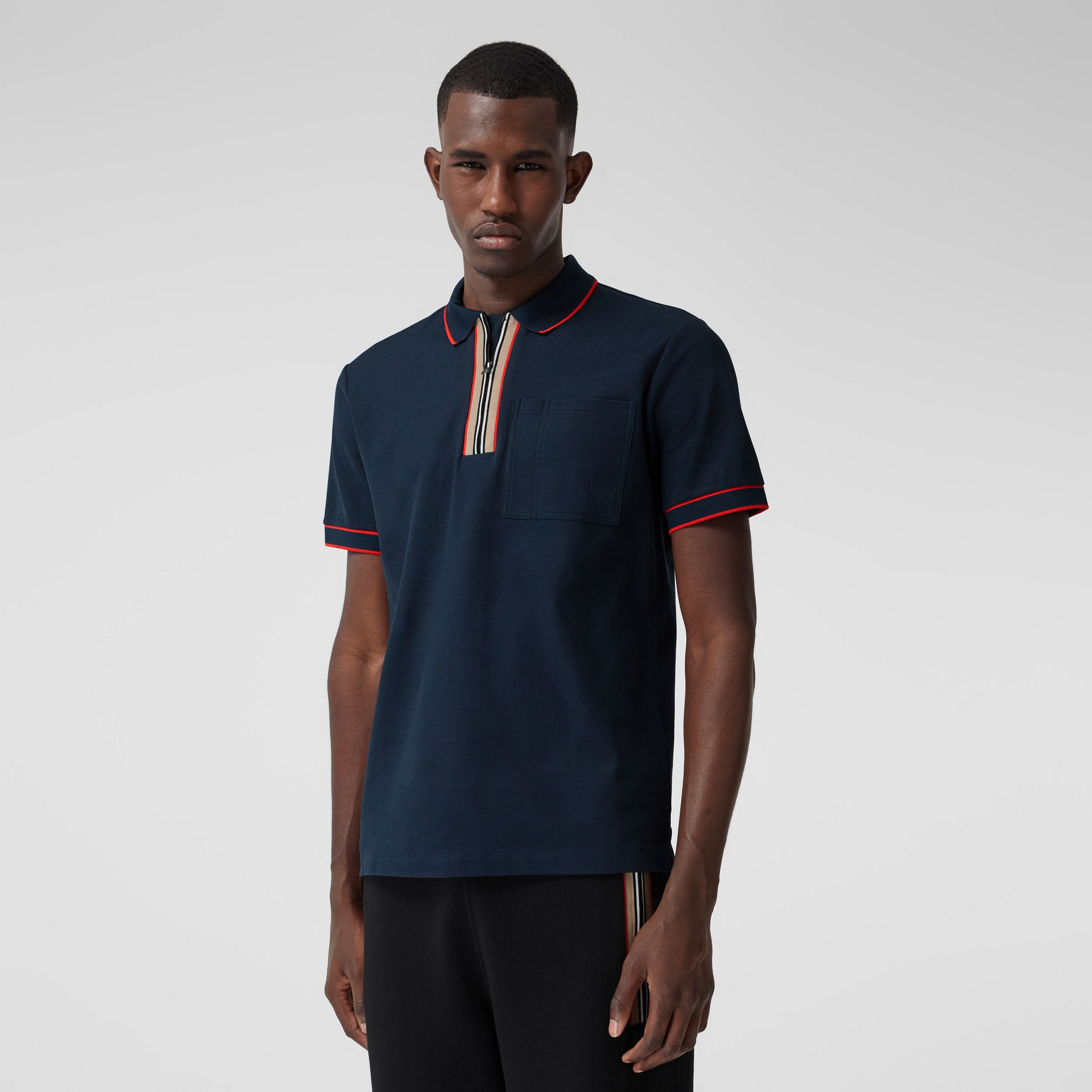 Icon Stripe Detail Cotton Zip-front Polo Shirt in Navy - Men | Burberry - 1