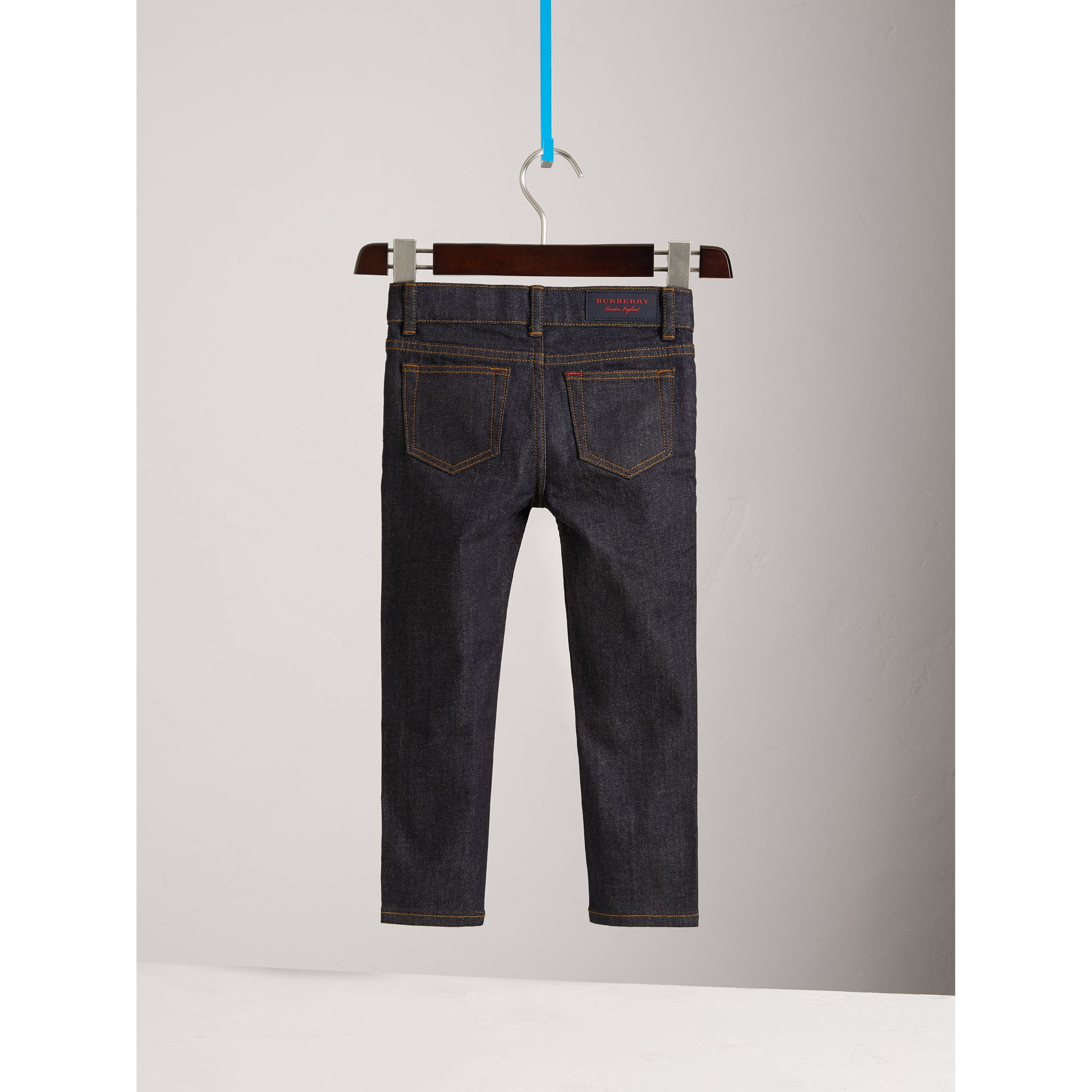 Skinny Fit Stretch Jeans in Dark Indigo - Boy | Burberry United Kingdom - gallery image 3