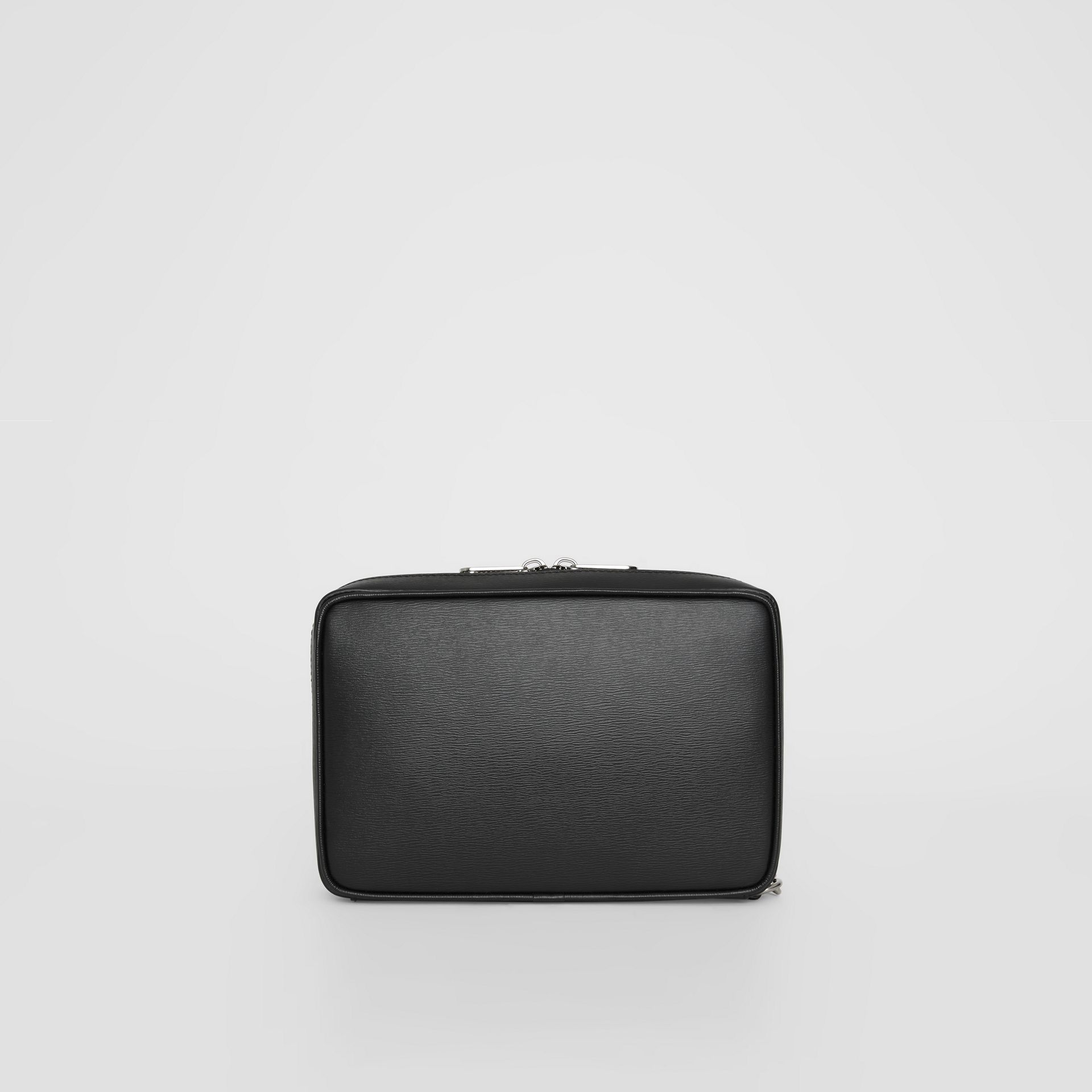 London Leather Travel Pouch in Black - Men | Burberry - gallery image 7