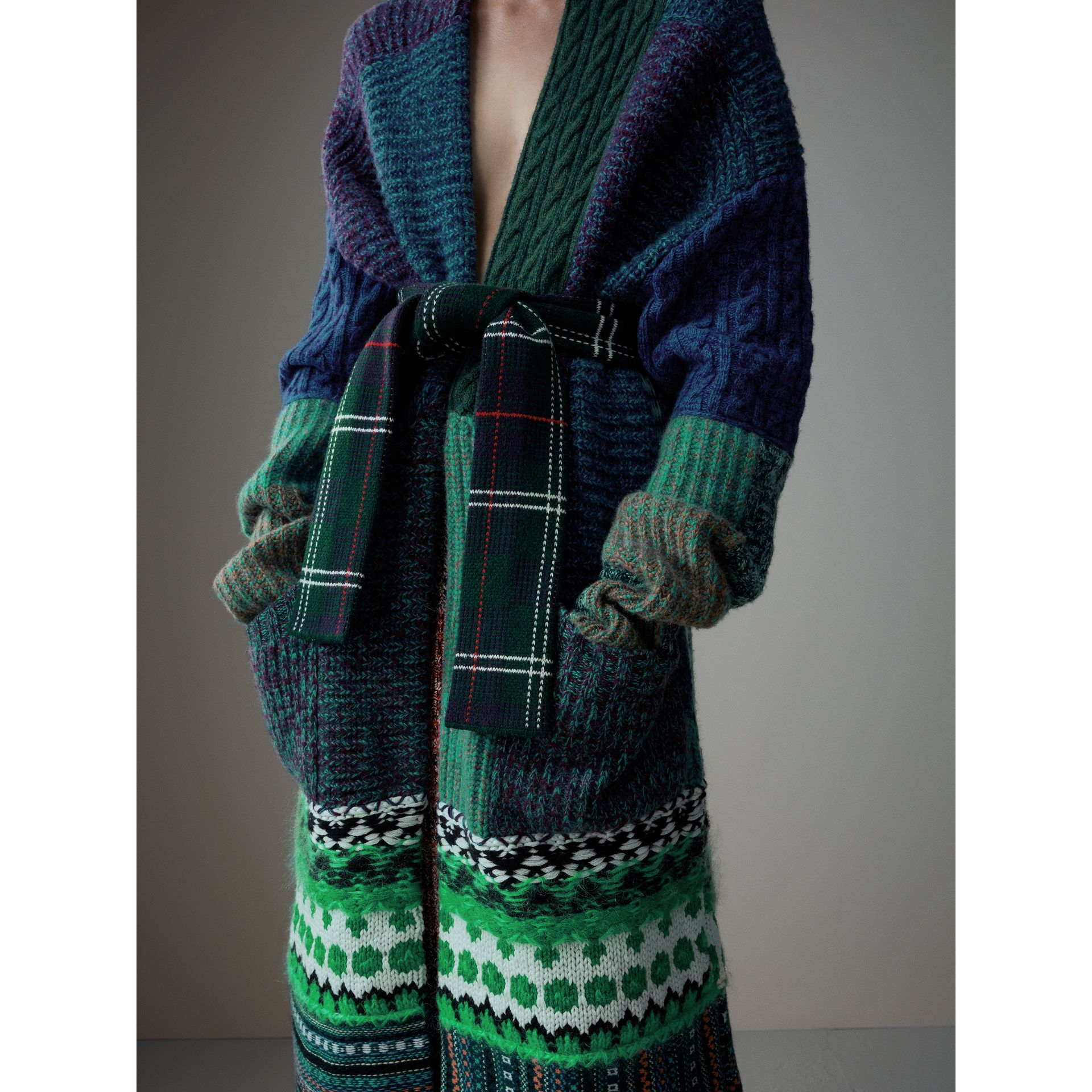 Cashmere Wool Mohair Patchwork Cardigan Coat in Hydrangea Blue - Women | Burberry Australia - gallery image 2