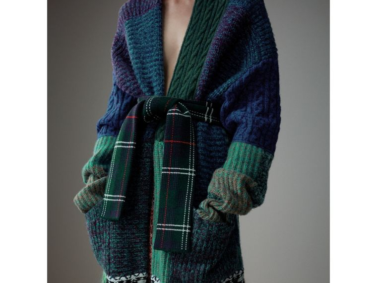 Cashmere Wool Mohair Patchwork Cardigan Coat in Hydrangea Blue - Women | Burberry Australia - cell image 1