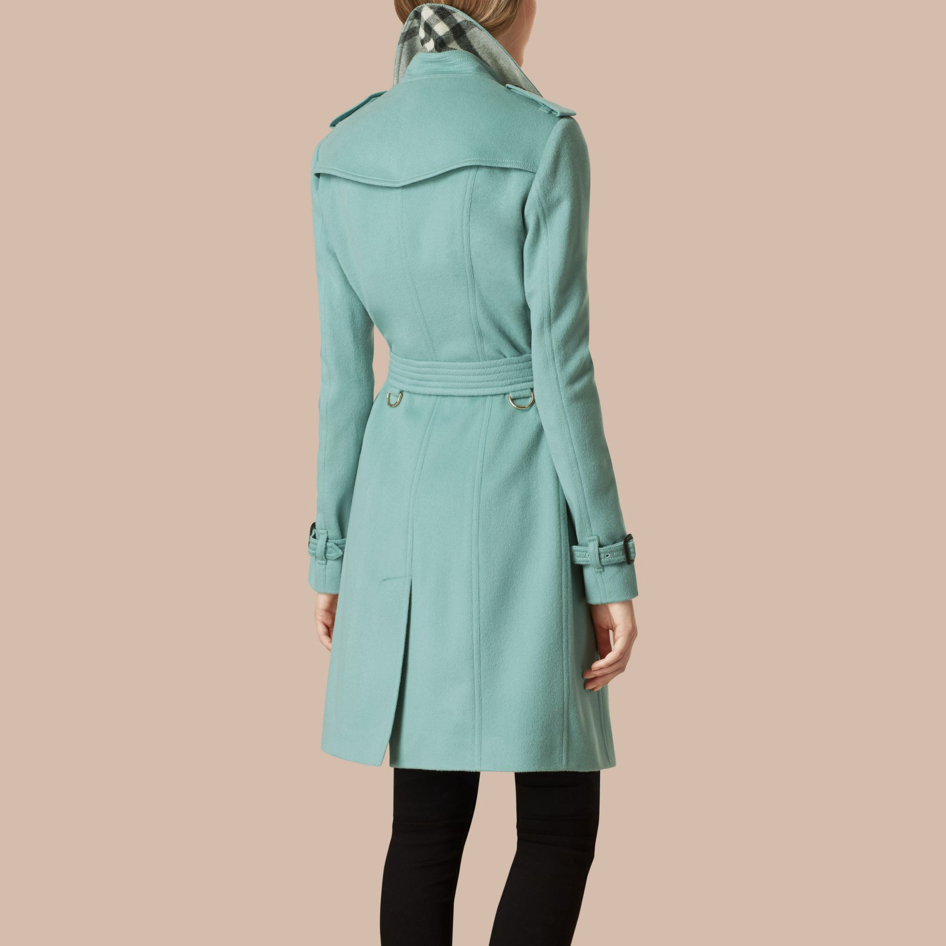 Dusty mint Sandringham Fit Cashmere Trench Coat Dusty Mint - gallery image 3