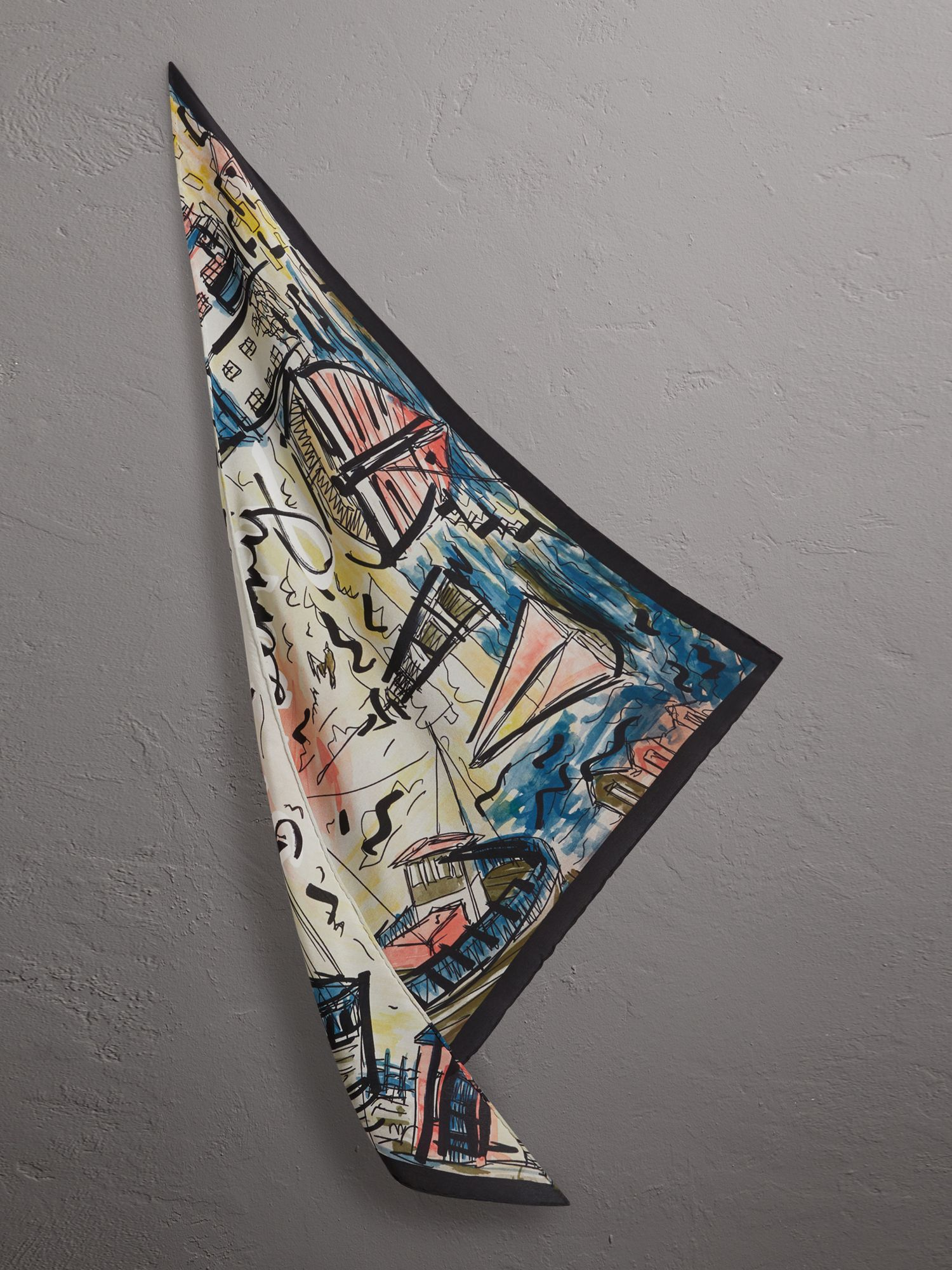 The Burberry Bandana in Coastal Print Silk in Rose Pink