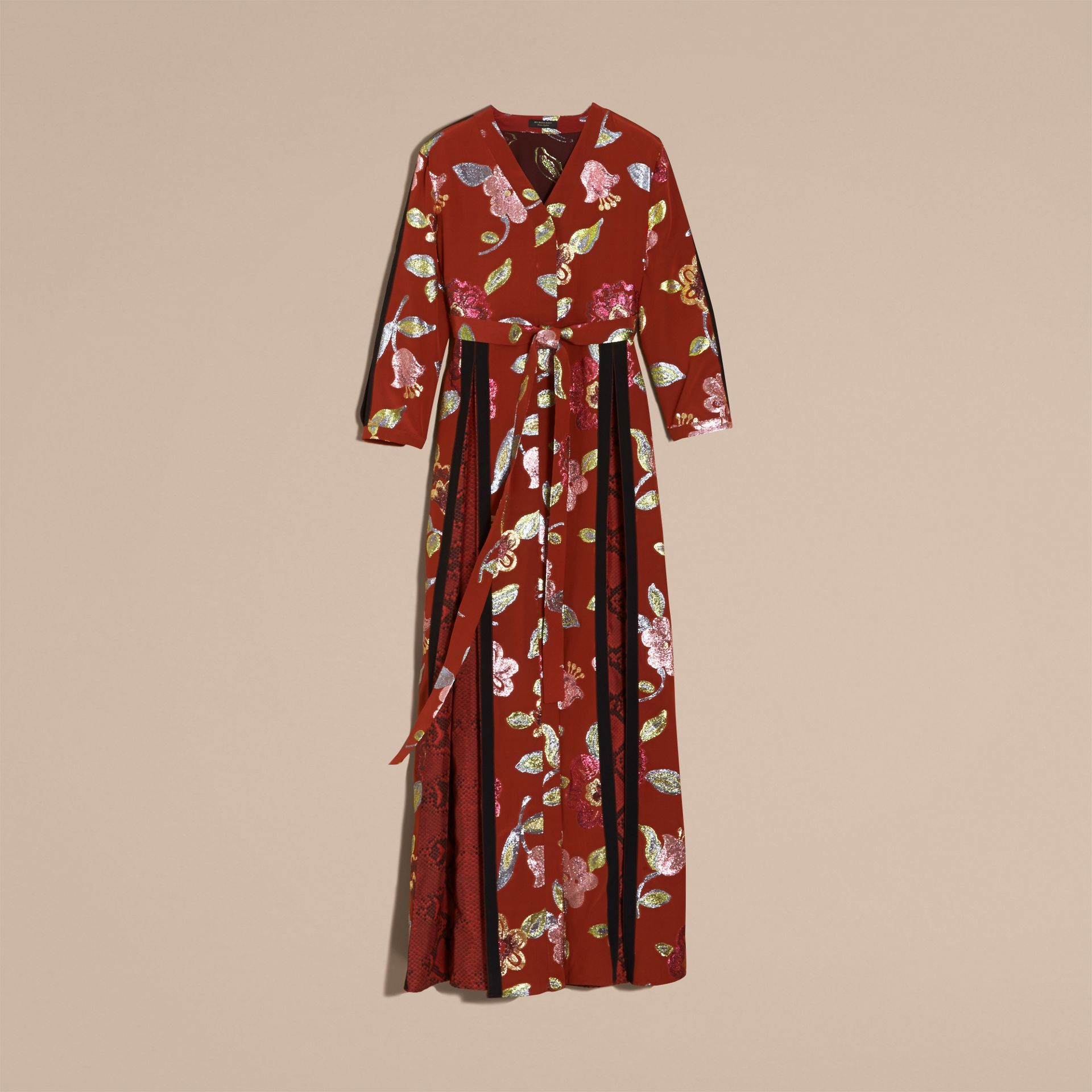 Burnt sienna Floral Fil Coupé Trimmed Silk Wrap Gown - gallery image 4