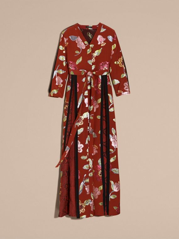 Burnt sienna Floral Fil Coupé Trimmed Silk Wrap Gown - cell image 3