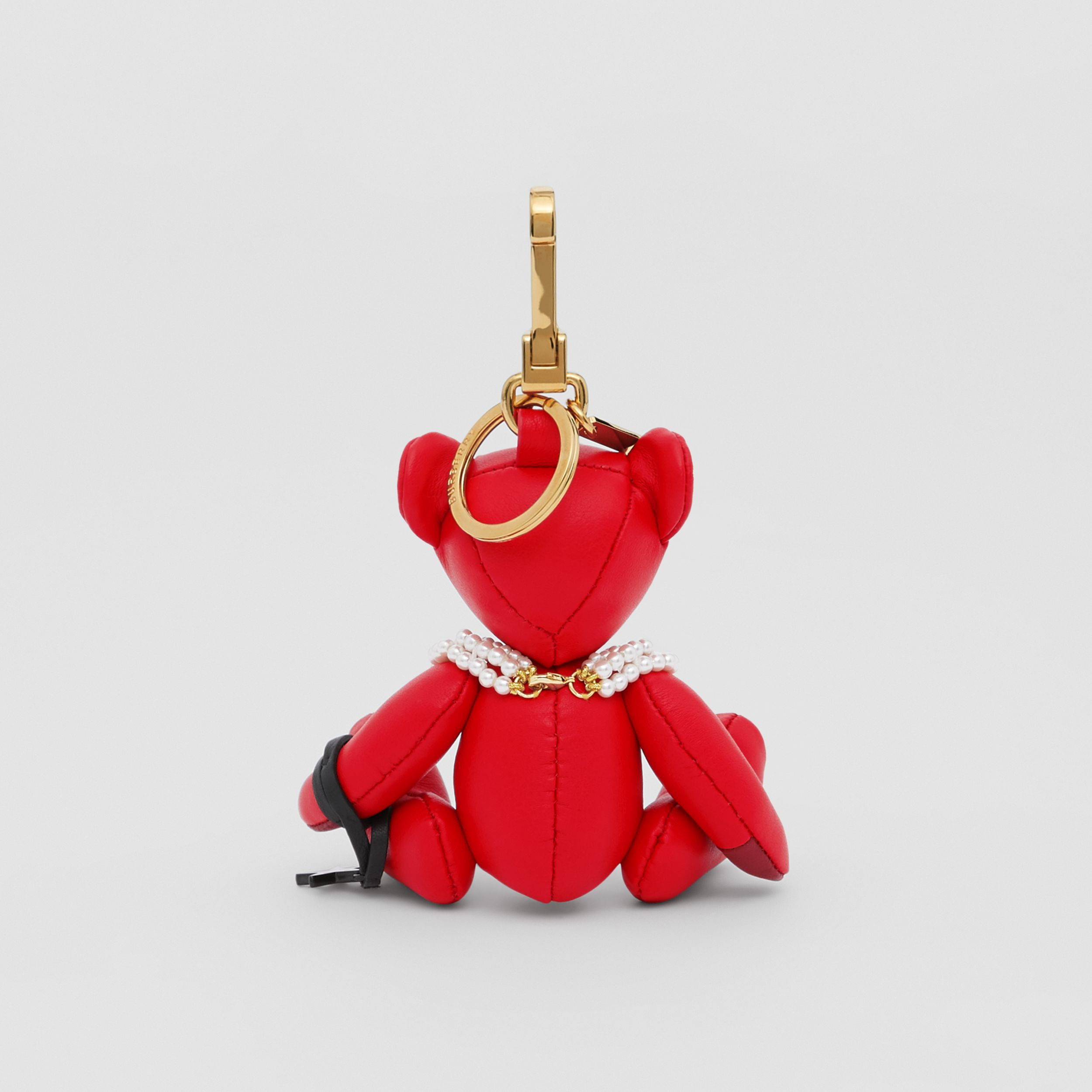 Thomas Bear Charm in Resin Pearl Necklace in Red | Burberry - 4