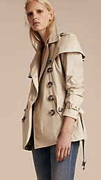 Lightweight Cape Detail Cotton Trench Coat