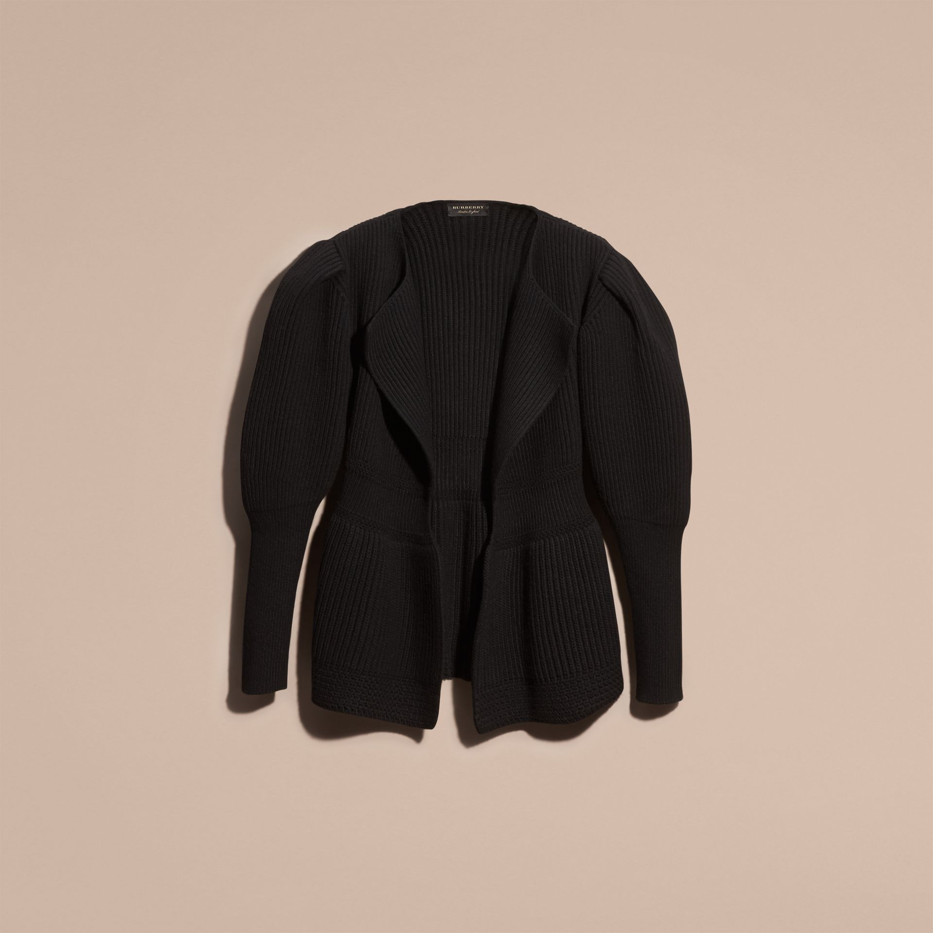 Black Wool Cashmere Peplum Cardigan with Puff Sleeves - gallery image 4