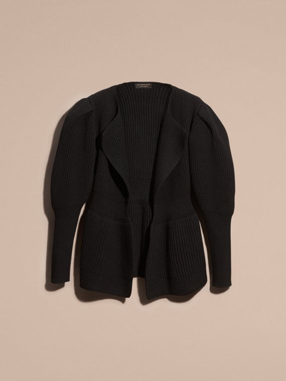 Black Wool Cashmere Peplum Cardigan with Puff Sleeves - cell image 3