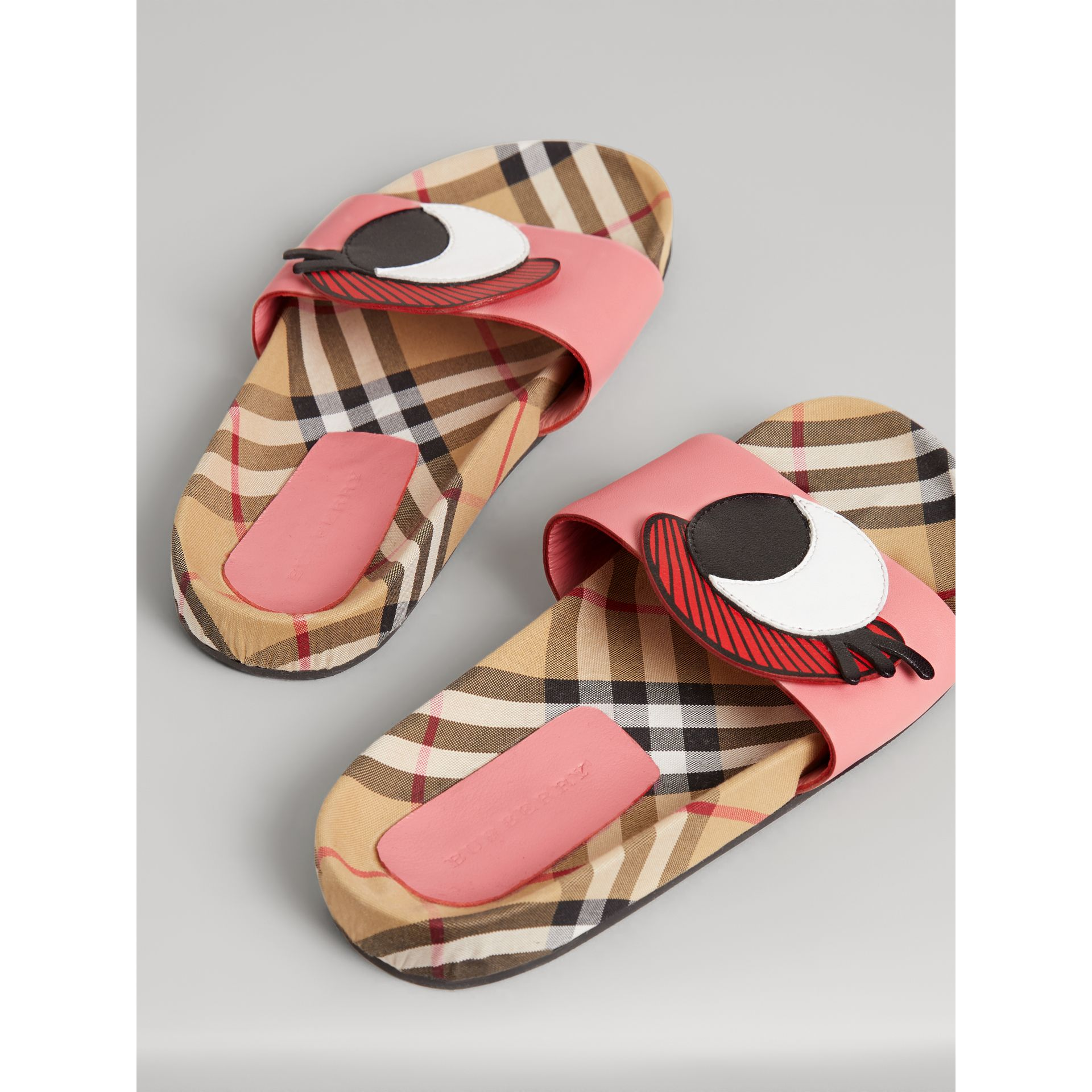 Eye Appliqué Vintage Check and Leather Slides in Pink Azalea | Burberry - gallery image 2