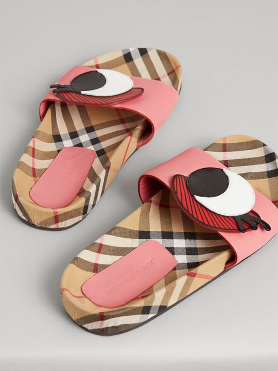 Eye Appliqué Vintage Check and Leather Slides in Pink Azalea | Burberry Canada - cell image 2