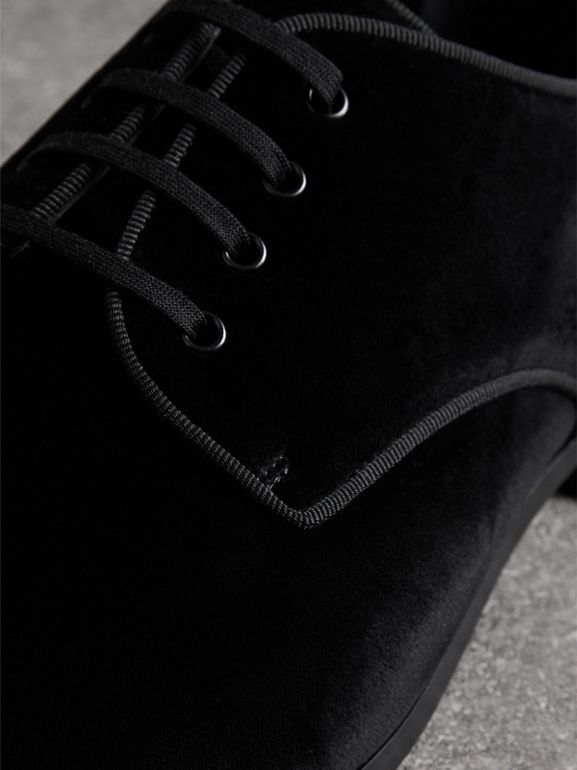 Velvet Derby Shoes in Black - Men | Burberry Singapore - cell image 1