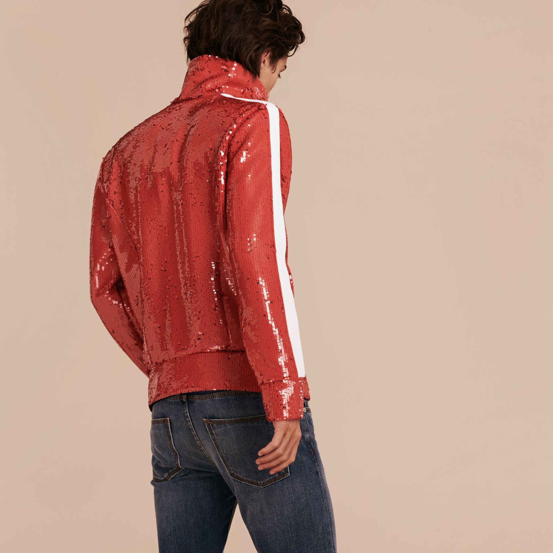 Cranberry red Sequin Track Jacket - gallery image 3