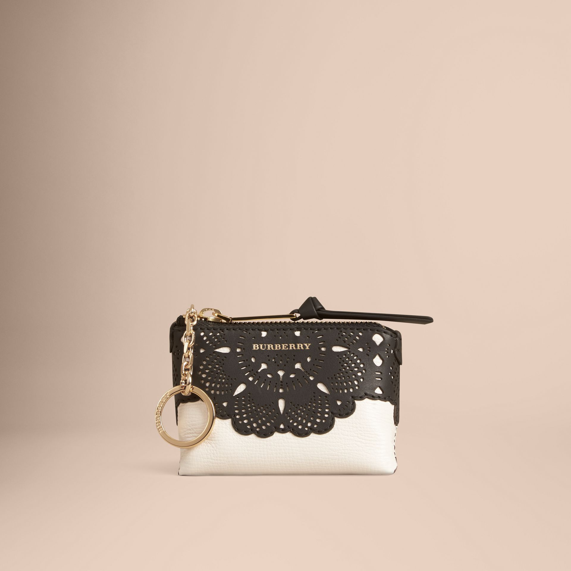 Natural Laser-cut Lace Grainy Leather Coin Case - gallery image 3