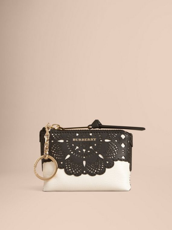 Natural Laser-cut Lace Grainy Leather Coin Case - cell image 2