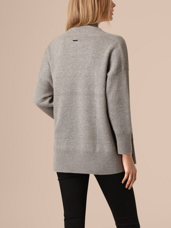 Pale grey melange Cashmere and Cotton Blend Shawl Cardigan Pale Grey Melange - cell image 2