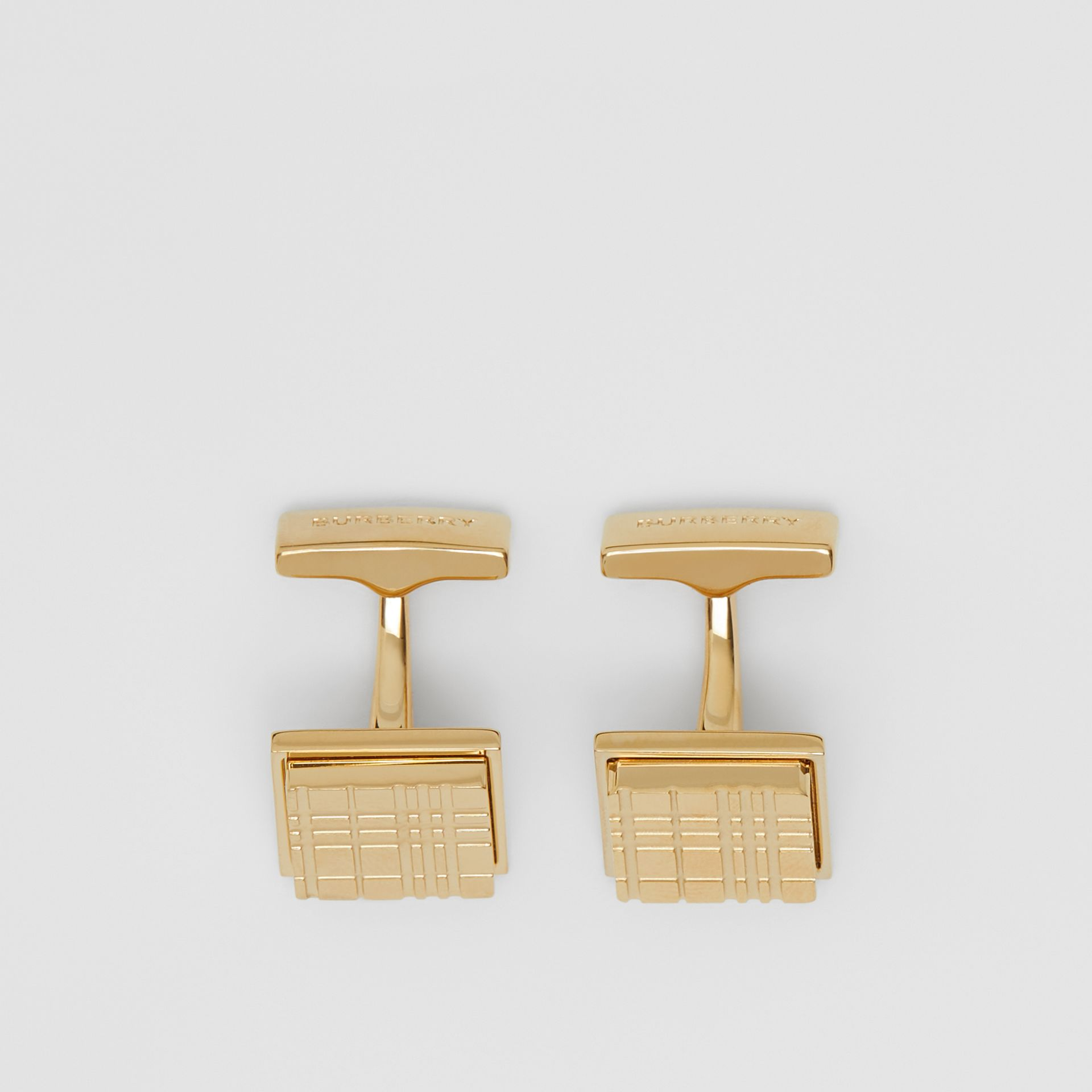 Gold-plated Check-engraved Square Cufflinks in Light - Men | Burberry - gallery image 2