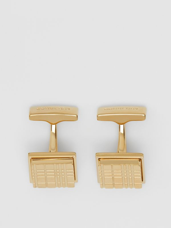 Gold-plated Check-engraved Square Cufflinks in Light - Men | Burberry - cell image 2