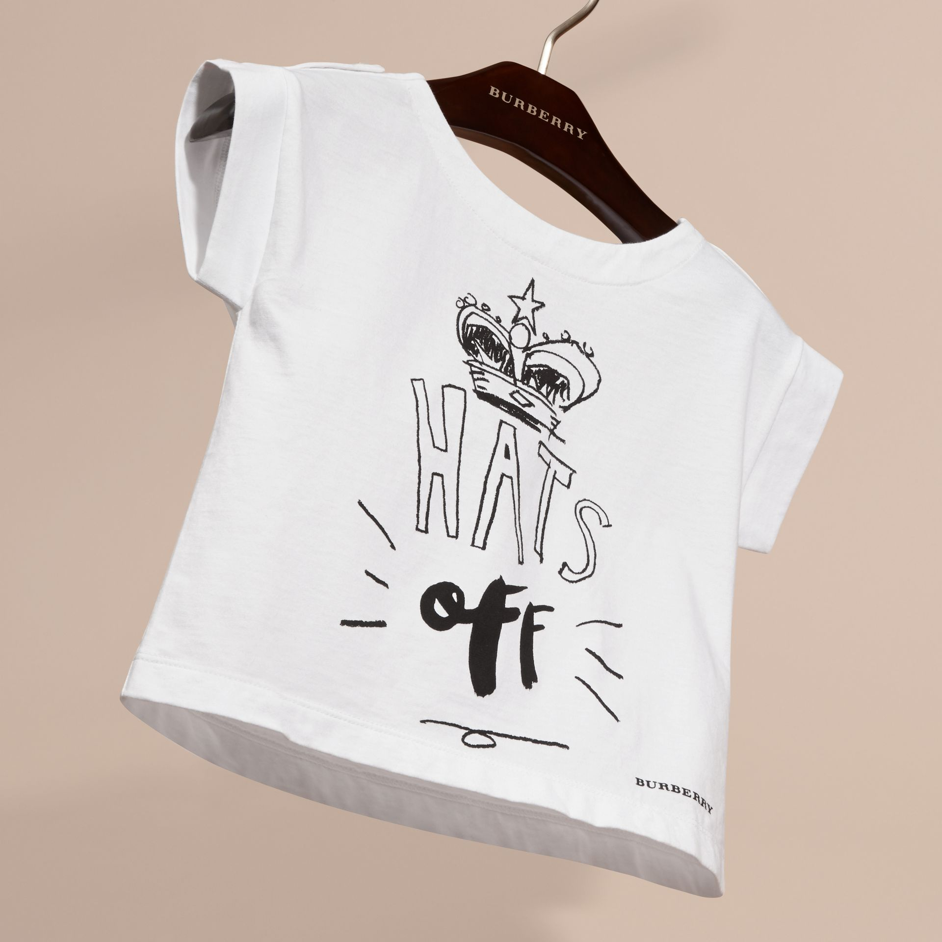 White Hats Off Motif Cotton T-Shirt - gallery image 3