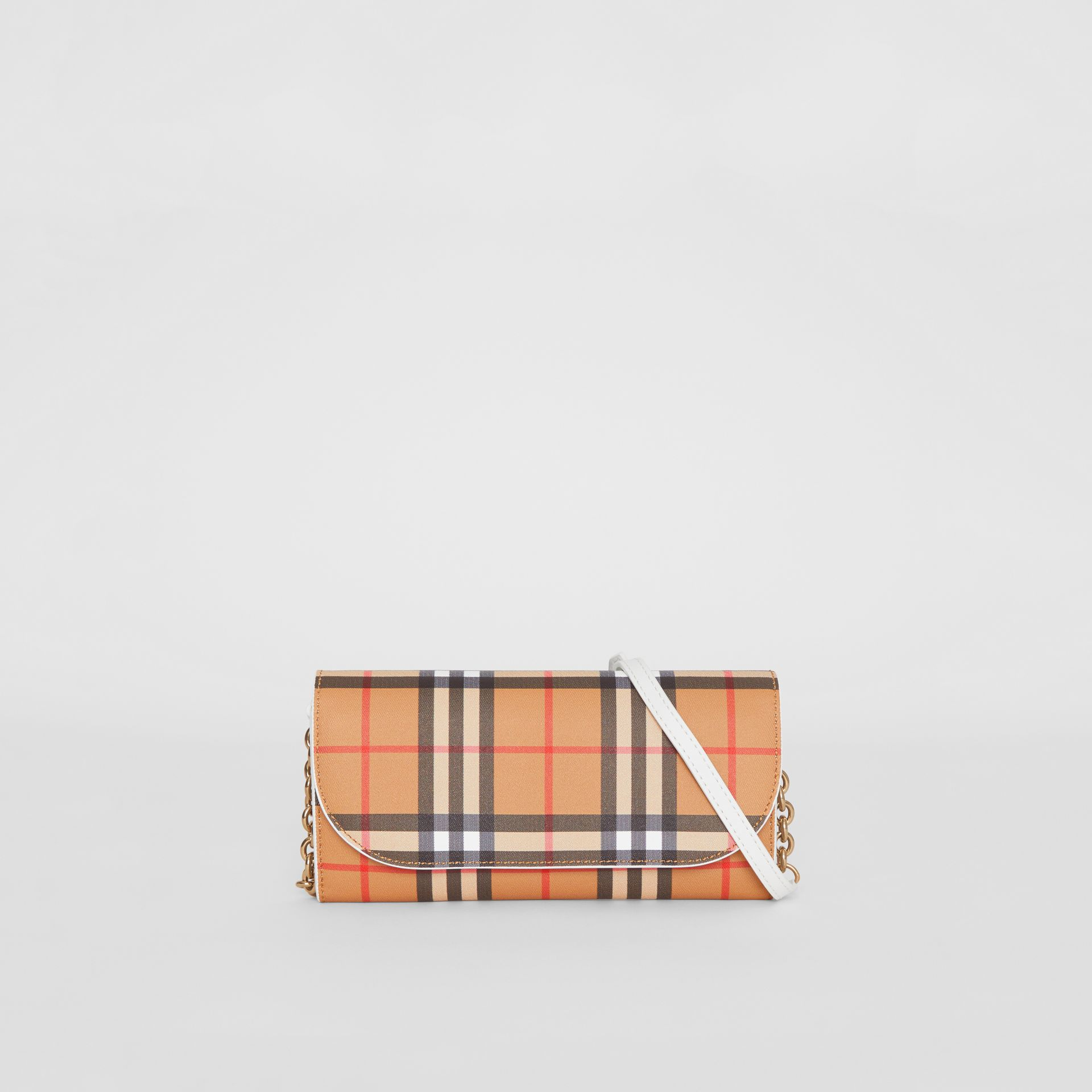 Vintage Check and Leather Wallet with Chain in Chalk White - Women | Burberry Canada - gallery image 0
