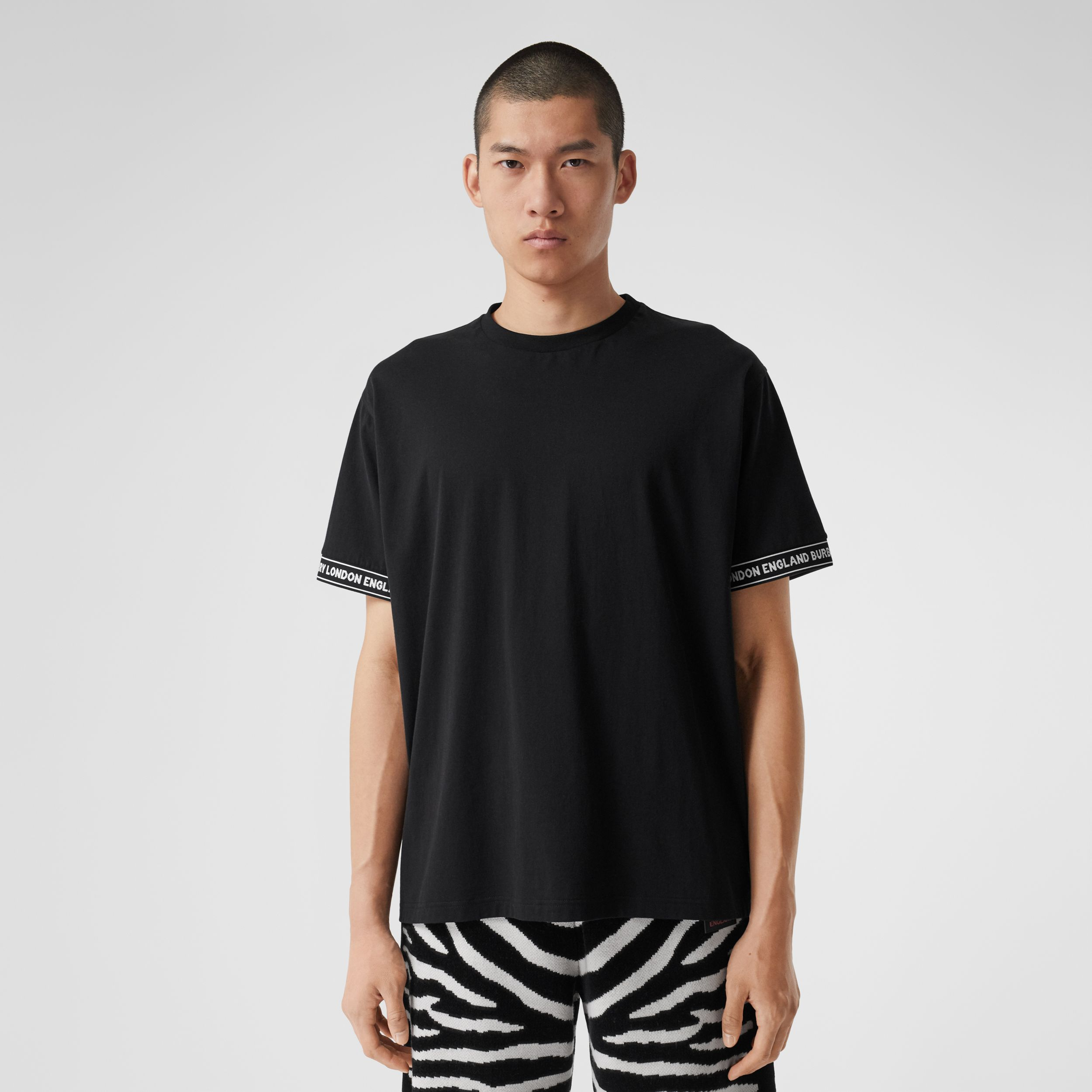 Logo Tape Cotton Oversized T-shirt - Men | Burberry - 1