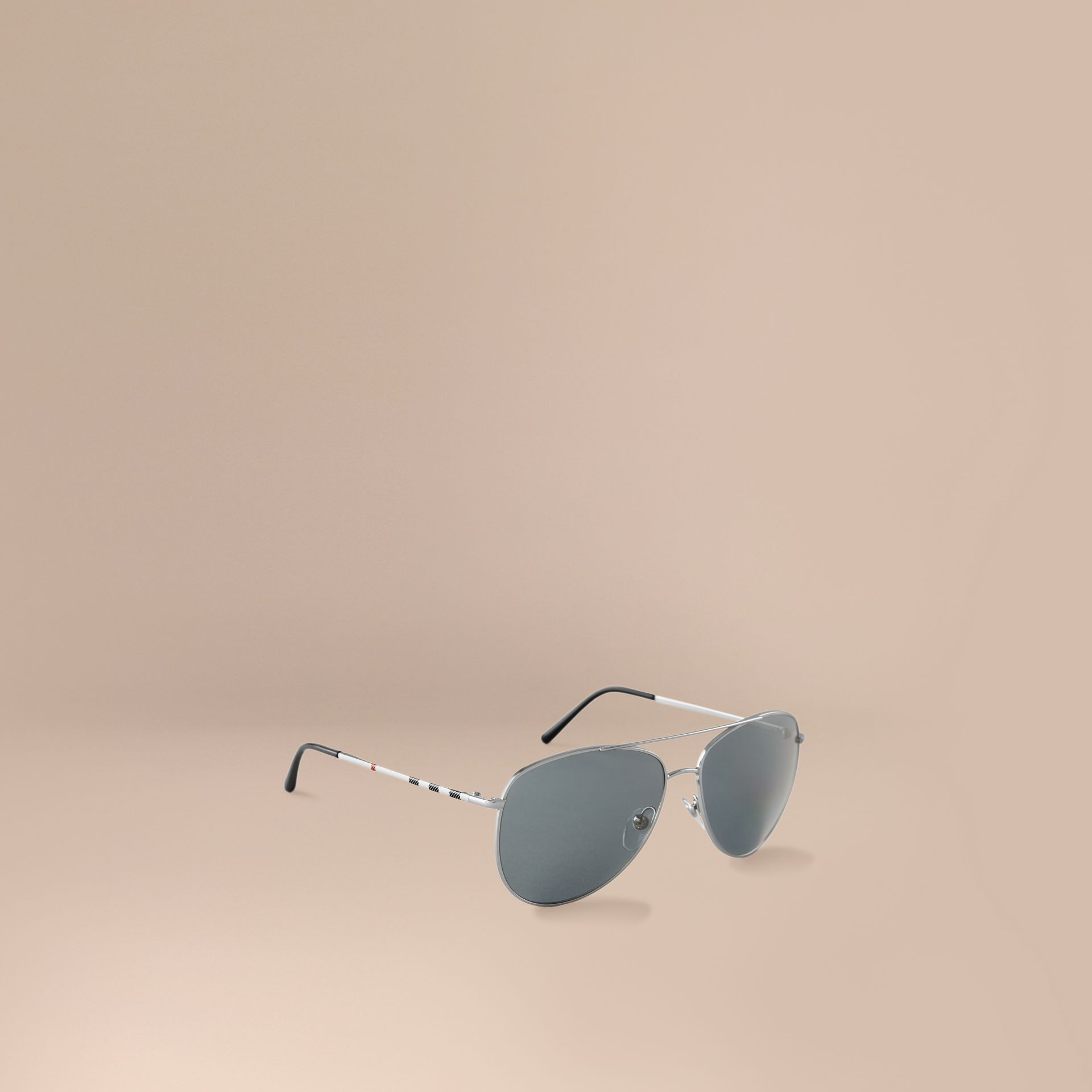 Silver Check Arm Aviator Sunglasses Silver - gallery image 1