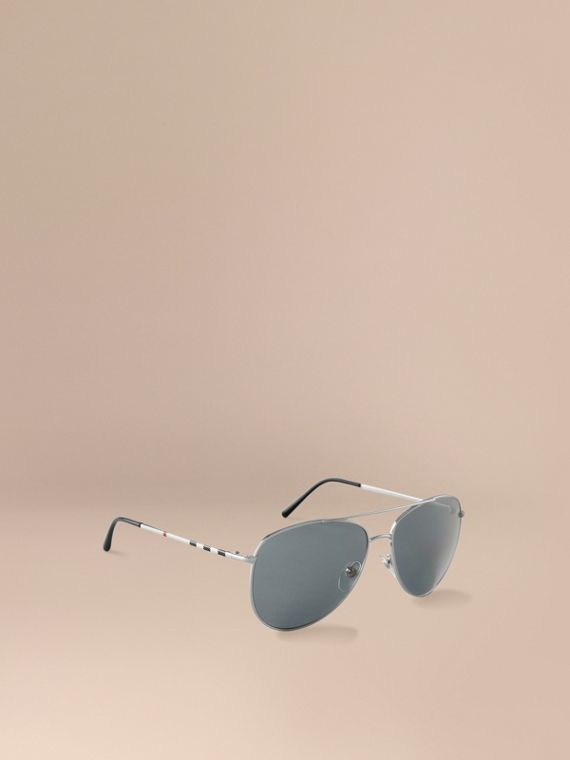 Check Arm Aviator Sunglasses Silver