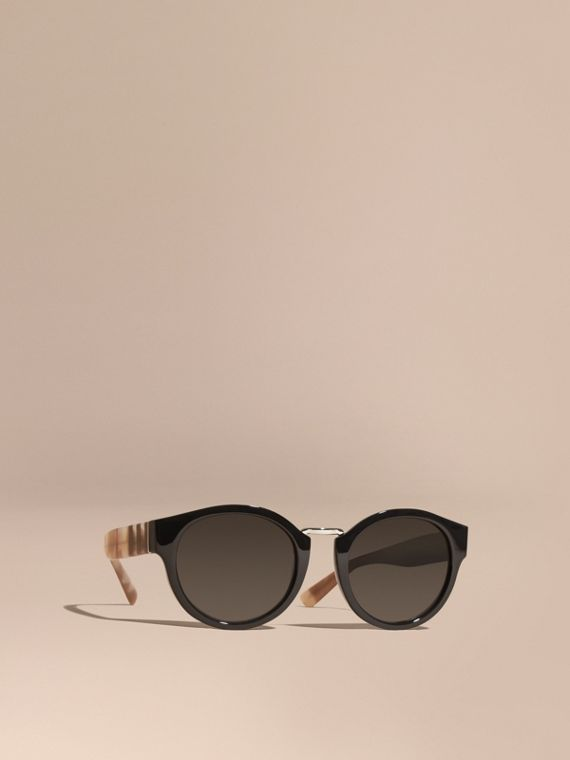 Check and Camouflage Detail Round Frame Sunglasses in Black - Women | Burberry Singapore
