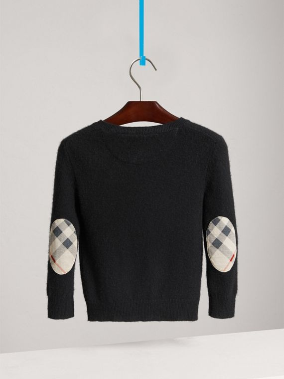 Check Elbow Patch Cashmere Sweater in Black - Boy | Burberry Singapore - cell image 3