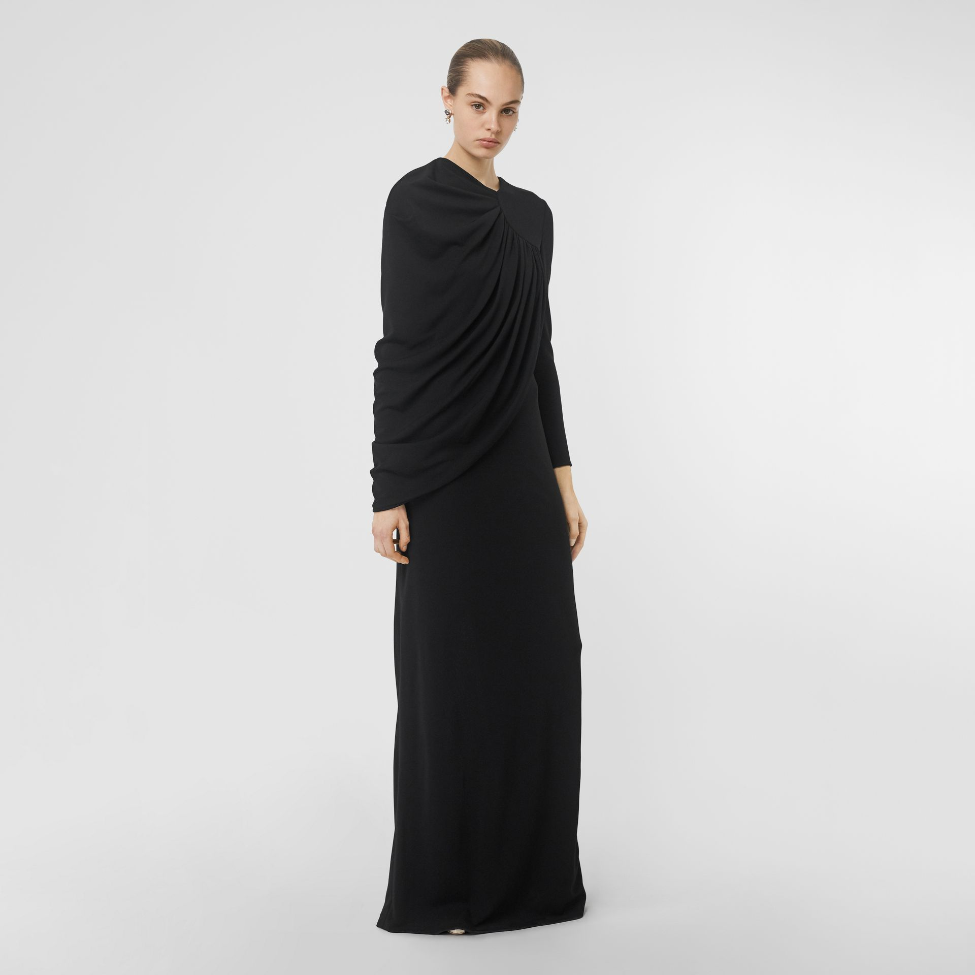 Cape-sleeve Stretch Jersey Gown in Black - Women | Burberry - gallery image 4