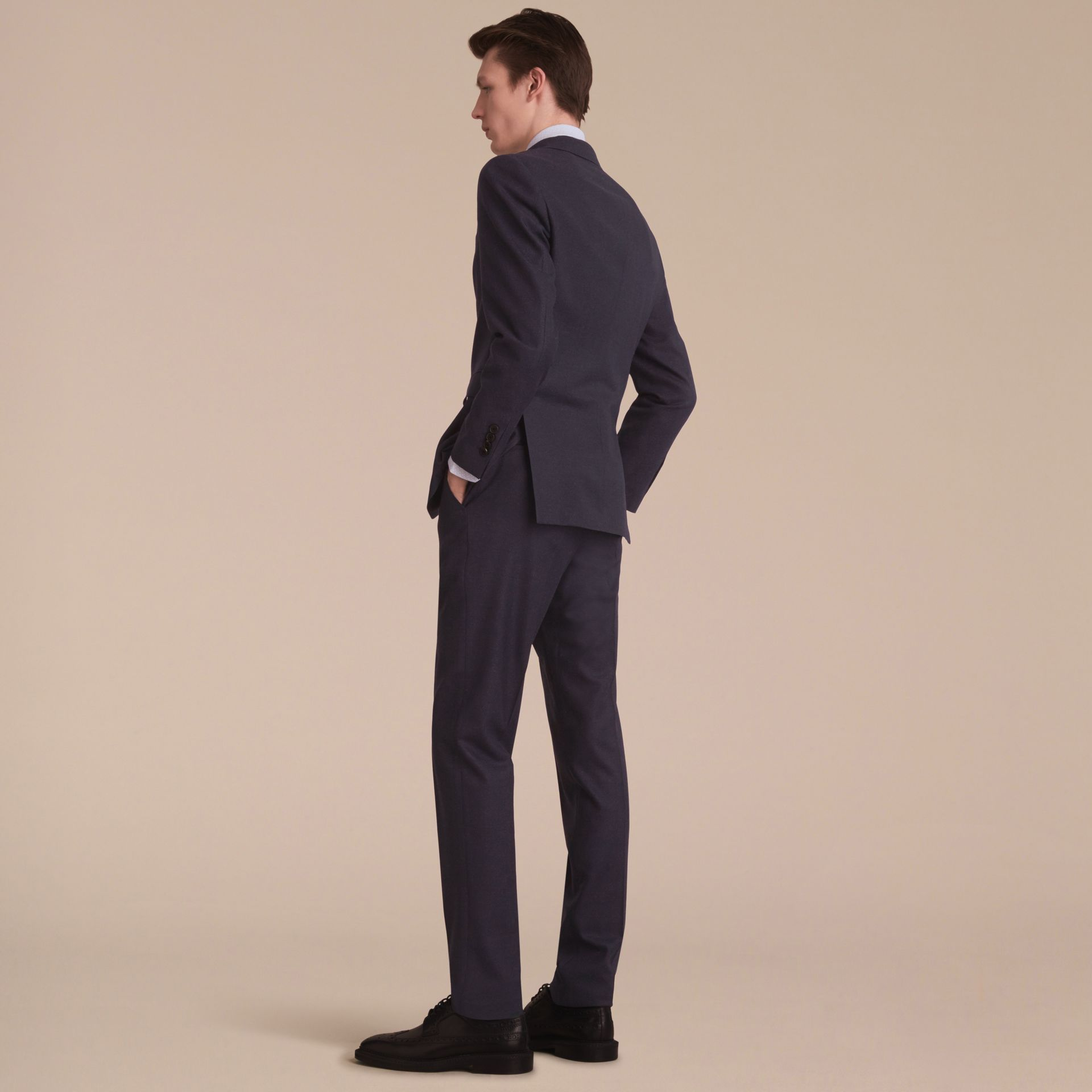 Soho Fit Wool Flannel Suit in Navy Melange - Men | Burberry - gallery image 3